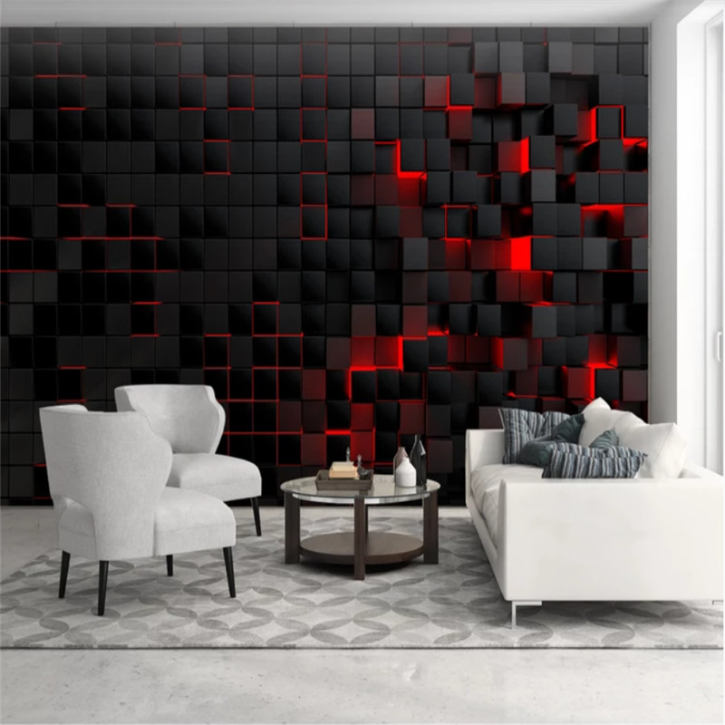 Custom Modern Technology Wallpapers For Living Room Wall Paper 3D Red Light Shining Black Cubes Wall Mural Wallpaper Home Decor