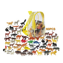60PCS Farm animals Models figures figurines Simulation Wild animal Panda Horse chicken deer Early education toys For Children