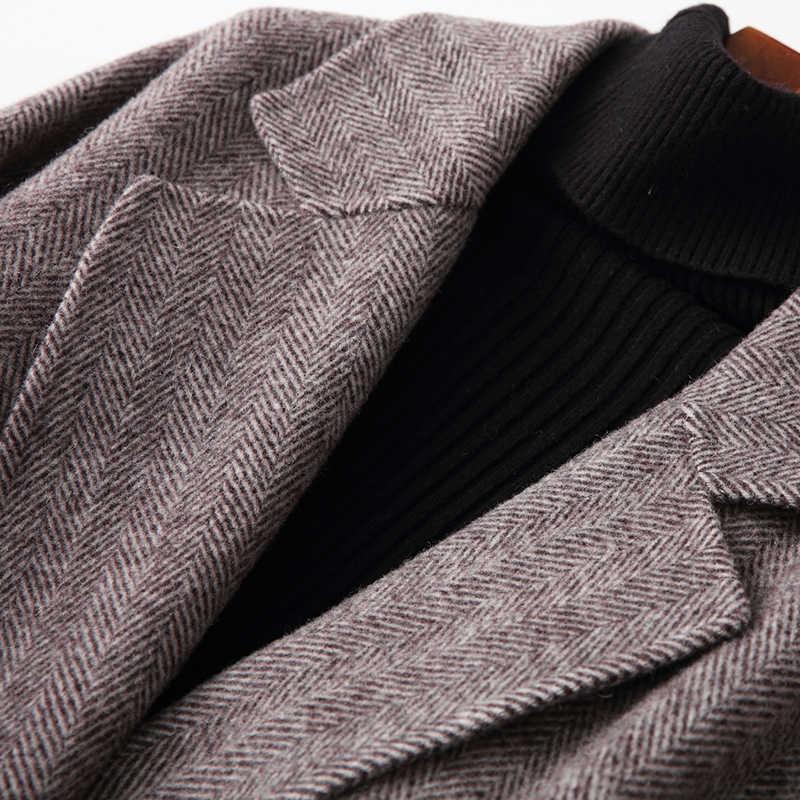2020 nowy płaszcz z wełny damski, wiosenny jesień długi płaszcz w jodełkę mieszanka panie płaszcze Abrigos Mujer Elegante M006 KJ2397
