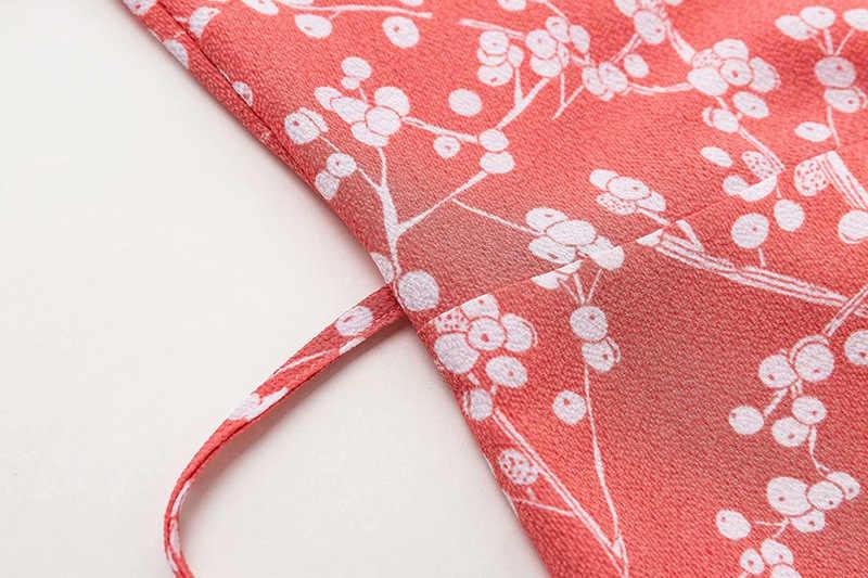 Bazaleas 2019 vestido de verano de manga corta vestido midi con estampado de hortensia de color rosa antiguo con botón y corbata en la parte delantera vestidos