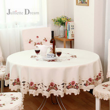 Top European Garden embroidered Tablecloth Round dining table cloth tea cabinet cover decoration elegant home textile clothes