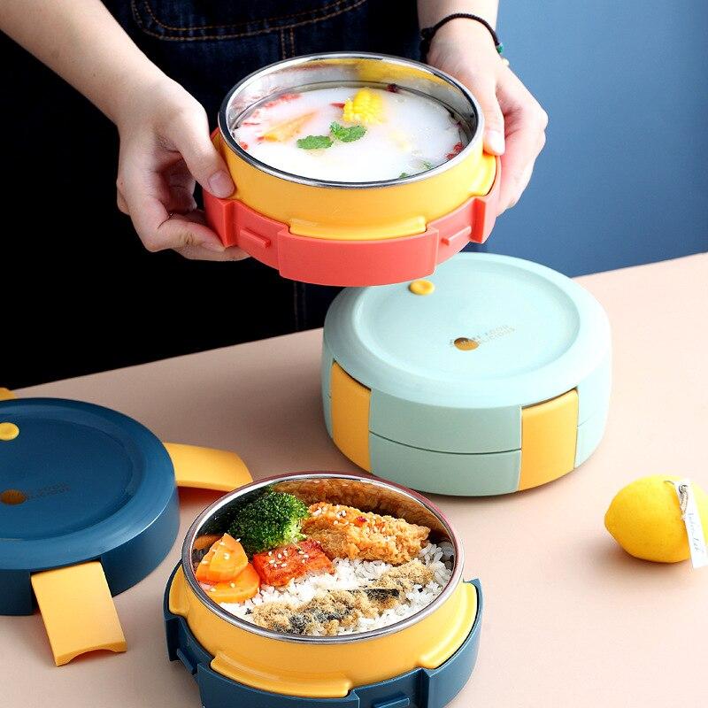Нержавеющаясталь здоровый Материал Коробки для обедов столовая посуда Еда контейнер для хранения коробка для завтрака Пикник Кемпинг чех...