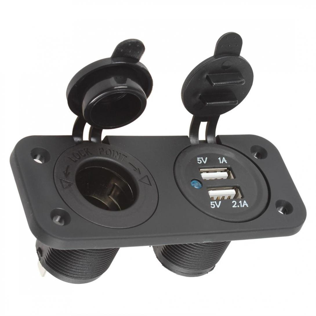 12V Car Cigarette Lighter Plug Adapter Socket Splitter Waterproof Motorcycle Boat Dual USB Power Charger Outlet For Smart Phone