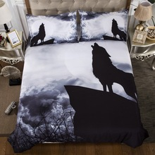 Night Wolf Bedding Sets 3D Animal Hilltop Duvet Cover with Pillowcases Twin Queen King Size Black and White Color Bed Linen 3pcs