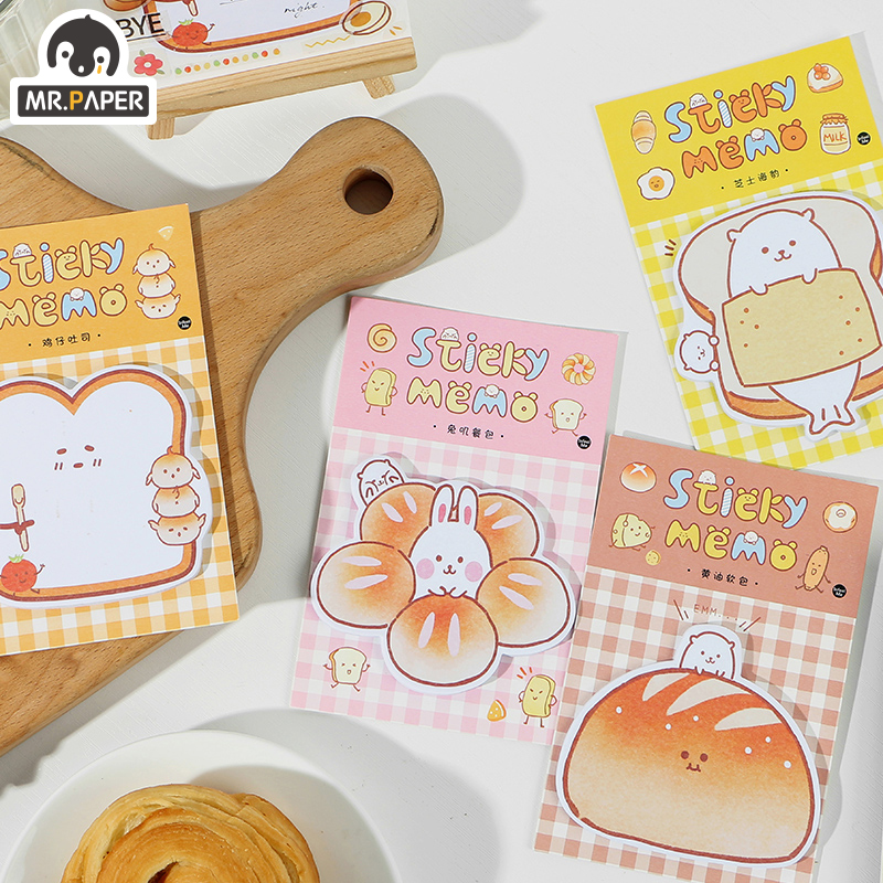 Mr.paper 30 Pcs Bread Lovely Animal List Sticky Notes Notepad Kawaii Stationery Self-Adhesive Memo Pads Office School Supplies