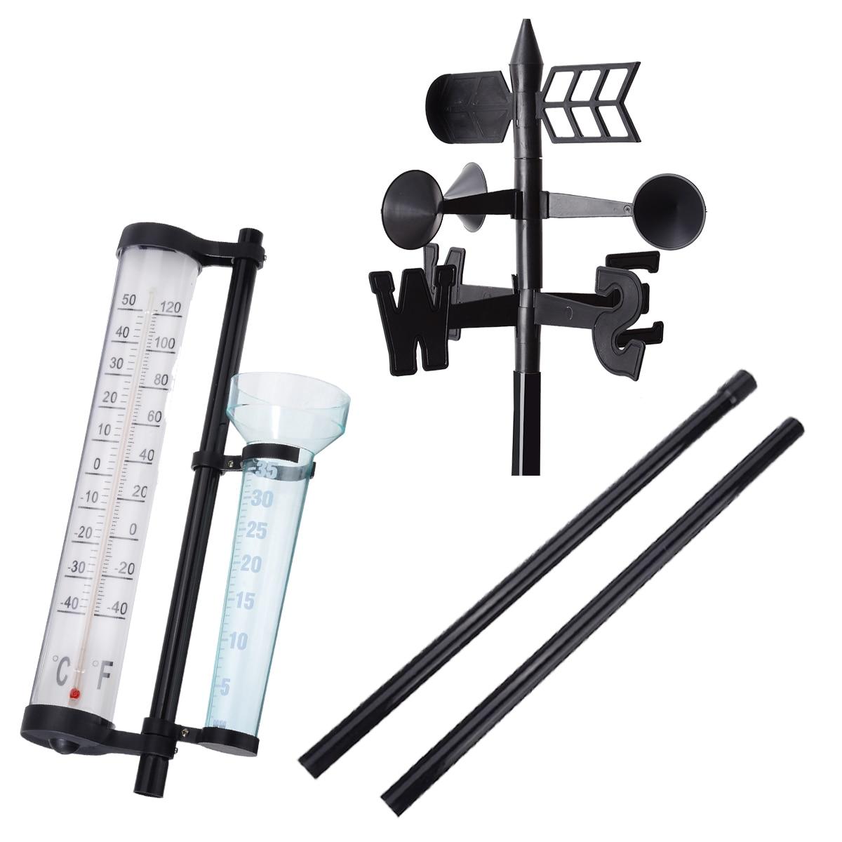Outdoor Garden Weather Station Meteorological Measurer Vane Tool Wind Rain Gauge Analysis Instruments