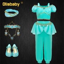 Halloween Girls Aladdin Jasmine Costume Child Arabian Green Princess Clothing Set Kids Necklace Earring Headwear Cosplay
