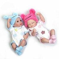 11'' Mini Reborn Babies Girl boy Full Silicone Vinyl Cute twins Dolls Lifelike Bebes Reborns For Toddler Bathing doll