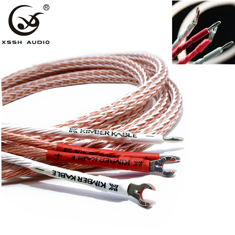 XSSH Audio Hi-end DIY HIFI Silver Plated Y Shape Spade To Banana Plugs KIMBER KABLE 12TC 24 Core Speaker Cable Cord Wire