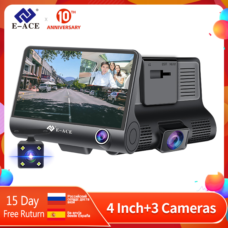 E-ACE Dashcam B28 Car DVRs 4 Inch Car Camera FHD 1080P Auto Recorder Dash Cam 3 Camera lens Registrator with Rear View Camera