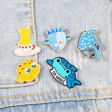 Cartoon Zee Dieren Pins Whale Octopus Puffer Vis Emaille Pins Broche Denim Jassen Kraag Pin Zak Hoed Badges Kids Sieraden geschenken(China)