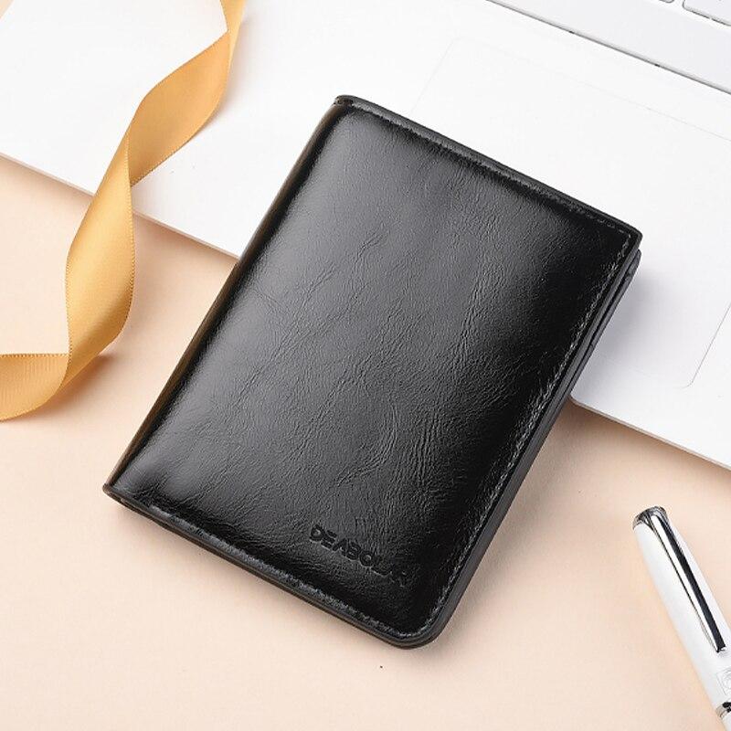 leather slim wallets mini wallets magic card holder men wallet money bag male vintage black short purse small cartera hombre 208 Men Men's Bags Men's Wallets
