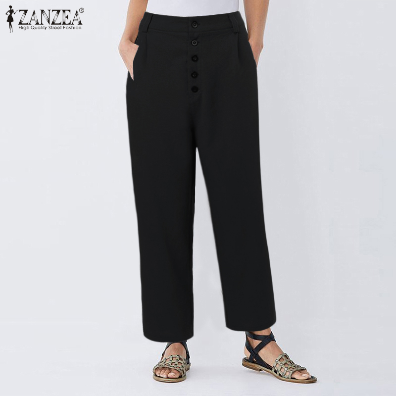 ZANZEA Summer Vintage Women High Waist Solid Long Trousers Casual Harem Pants Cotton Linen Pantalon Ladies  Work Palazzo Turnip