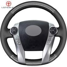LQTENLEO Black Leather Carbon Fiber Steering Wheel Cover For Toyota Prius 30(XW30) 2009 2015 Prius C(US) V(US) 2012 2017 Aqua