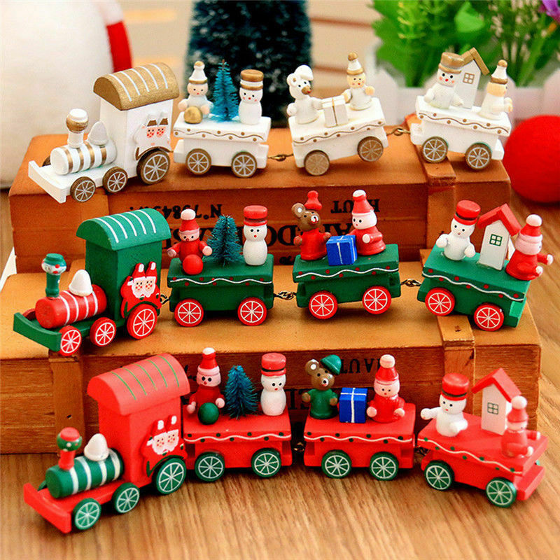 Christmas Cute Wood Carriage Train Ornament Kids Xmas Gift Toy Home Decoration