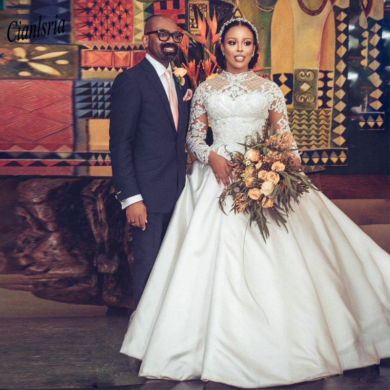 Newest High Neck Long Sleeve Nigerian African Ball Gown Wedding Dress Appliques Lace Beading Satin Bridal Wedding Dresses