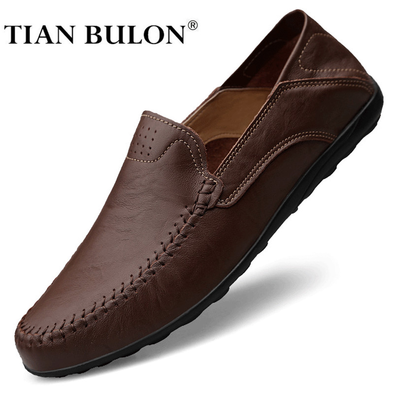 Genuine Leather Mens Shoes Casual Luxury Brand Men Loafers Moccasins Breathable Slip On Male Driving Shoes Brown Plus Size 37-47
