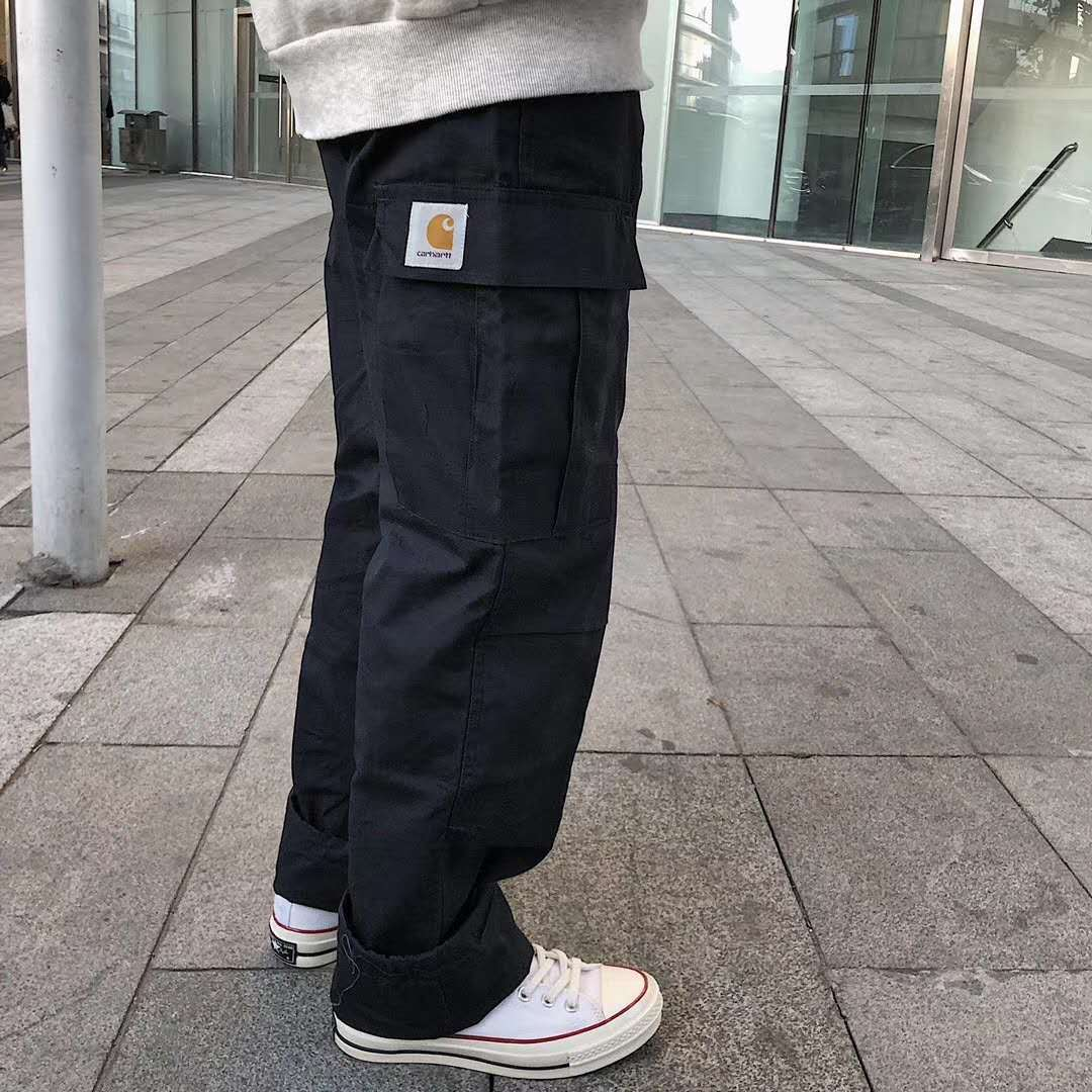 Algodão masculino calças soltas bolso grande trabalho roupas de alta qualidade moda marca nova em 2021
