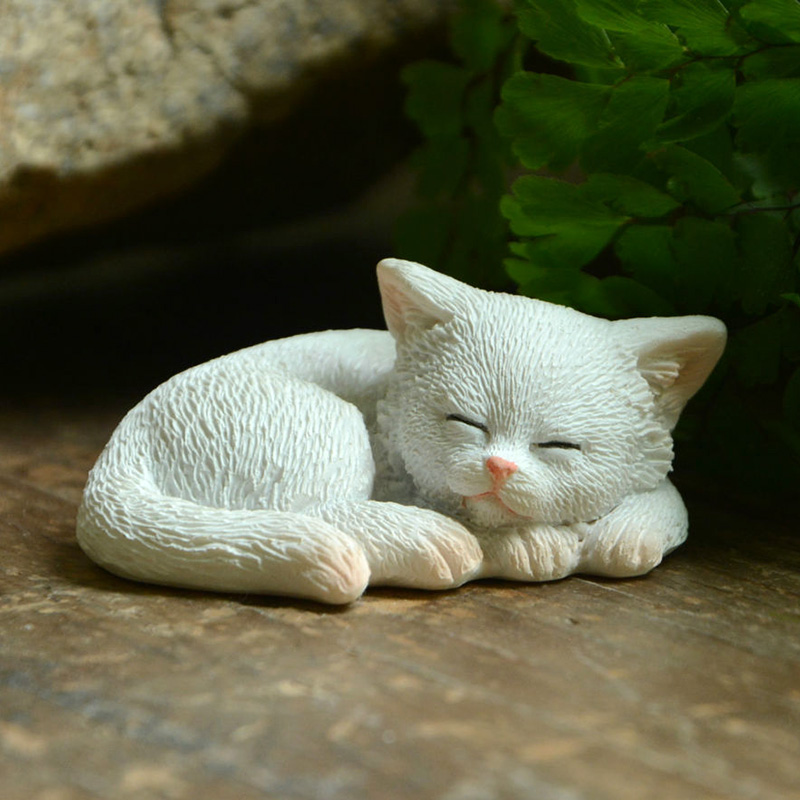 Everyday Collection Cute Kittens Cat Figurine Micro Landscape Ornaments Decorative Figurines Garden Desk Deco Home Decoration Figurines & Miniatures     - title=