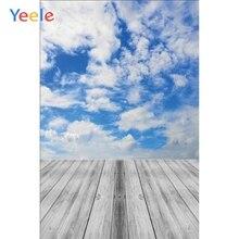 Yeele parede de tijolos cinza piso de madeira céu azul nuvem bebê retrato fotográfico backdrops fotografia para estúdio foto