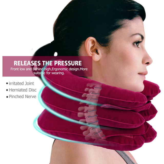 Inflatable Air Cervical Neck Traction Device Tractor Support Massage Pillow Pain Stress Relief Neck Stretcher Support Cushion 3