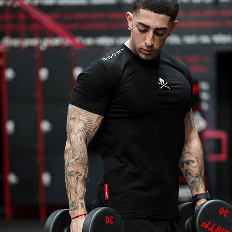 Men T Shirts Fashion Summer Bodybuilding Letter Printed Tshirt Men GYM Fitness Workout  O-Neck Show Muscle