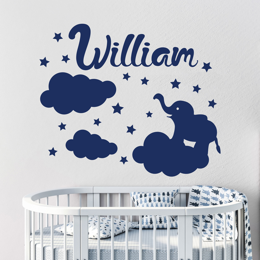 Cloud Stars Elephant Personalized Name Wall Sticker Vinyl Art Removable Poster Mural Kids Room Decor Custom Name Poster W566 in Wall Stickers from Home Garden