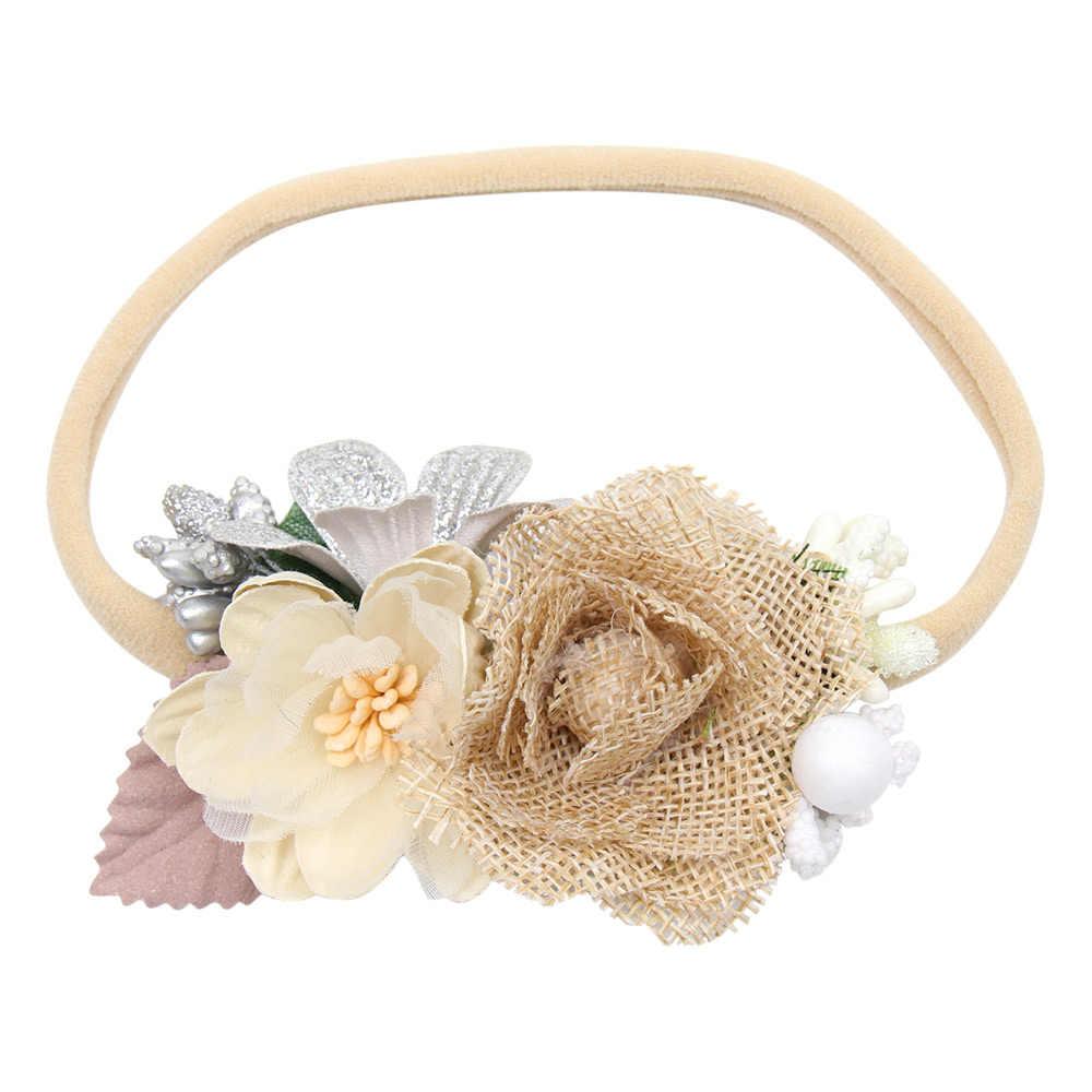 Diadema de flores de lino elástico de nailon banda para el cabello recién nacido fiesta regalo fotografía accesorios Boutique accesorios para el cabello de bebé