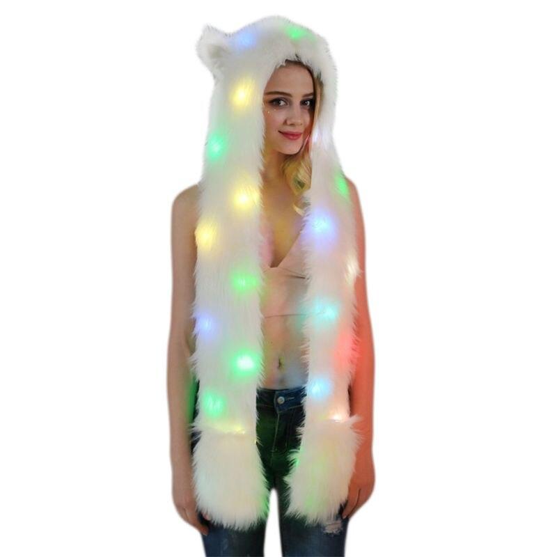 Unisex Fluffy Plush Wolf Animal Hat Scarf Gloves LED Flash 3 In 1 Hoodie Warmer
