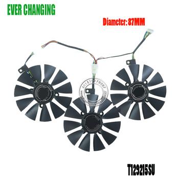 Nowy 87MM Everflow T129215SU DC 12V 0 50AMP 4Pin 4 drutu chłodzenia wentylator dla ASUS GTX980Ti R9 390X 390 GTX1070 karta graficzna fanów tanie i dobre opinie Ever Changing CN (pochodzenie) Fluid Łożyska 100000 godzin 3500 RPM 4 Linie Z tworzywa sztucznego 90x90x25mm