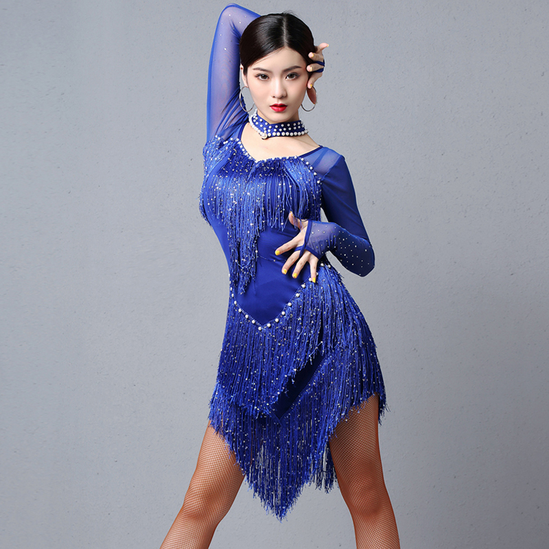Latin Dresses Competition Dance Charleston Practice Wear Women'S Sequin Fringe Dress Ladies Ballroom Flamengo Stage Wear DL4402
