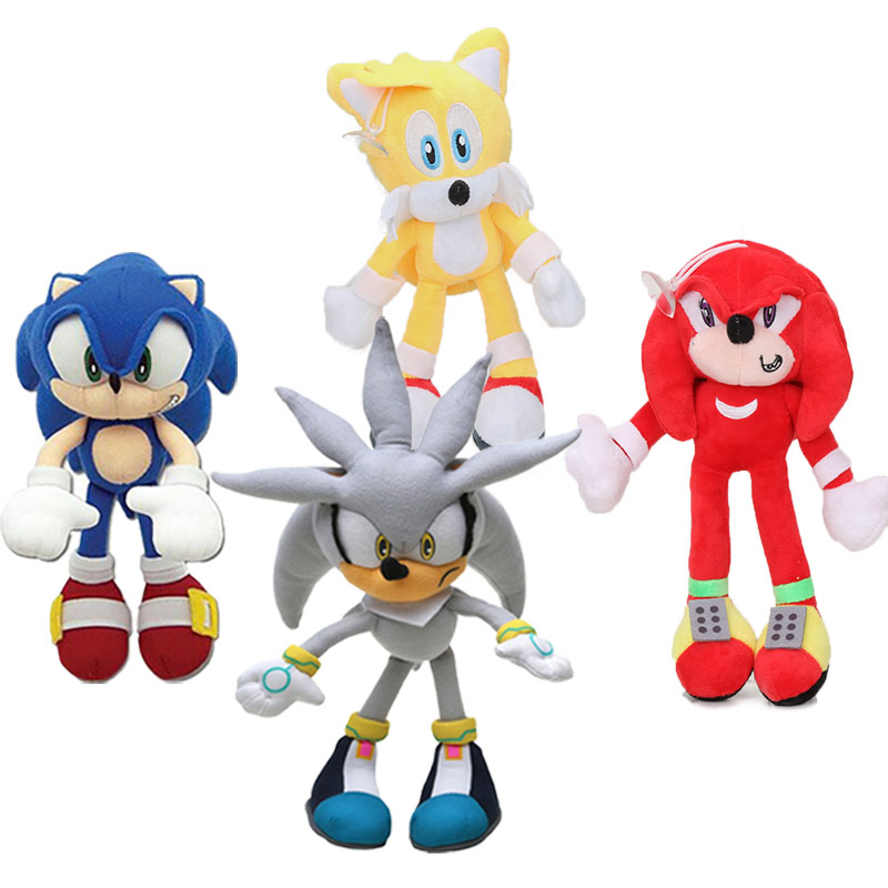 4pcs 20-27cm Silver Blue Sonic The Hedgehog Plush Toy Super Sonic The Hedgehog Plush Tails Soft Stuffed Dolls Keyring Keychain
