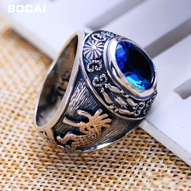 S925 bijoux en argent en gros Vintage argent bleu cristal anneau bague usine directe totem dominateur homme anneau