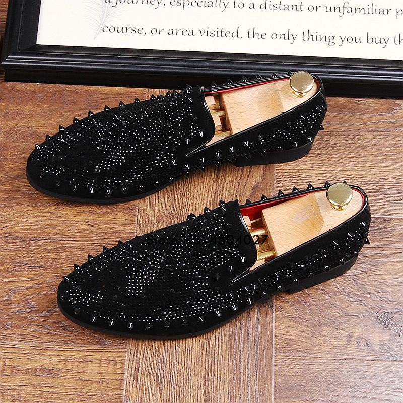 Zapatos de vestir negros con diamantes de imitación para hombre, mocasines de lujo de cristal, mocasines de oficina, calzado de hombre de negocios