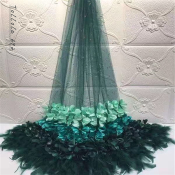 Beautifical 3d embroidery french lace fabrics Latest style Feather net lace mix guipure lace for wedding 5yards/lot