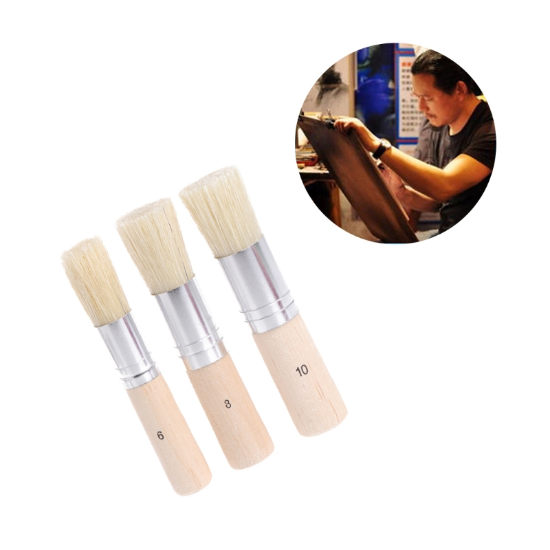 3Pcs Wooden Stencil Brush Hog Bristle Brushes Acrylic Watercolor Oil Painting