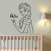 Personalized Girls Name Princess Snow Queen Cartoon Wall Stickers Vinyl Home Decor Kids Room Bedroom Nuresry Decals Murals A570