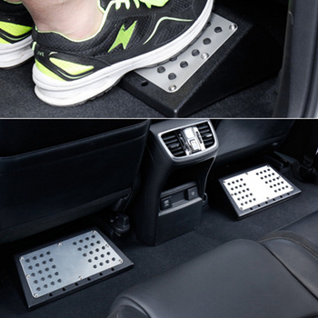 Steel Car Foot board Floor Carpet Mats Patch Heel Plate Foot Rest Pedal Plate Stool For All Cars Truck Suv Passenger & Rear Seat