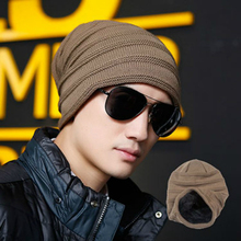 Men Autumn and Winter Knit Cap New Plus Velvet Outdoor Bean  Hat Wool Fashion Ski Caps Hats for