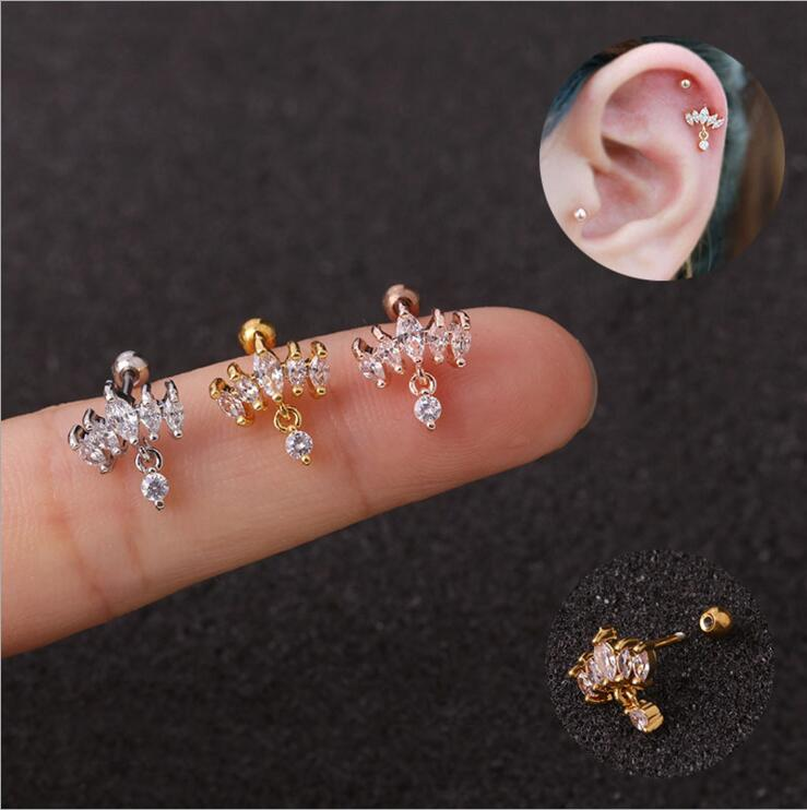 1Pc New Cz Crown Tragus Cartilage Dangle Earring 20g Stainless Steel Helix Conch Rook Lobe Ear Piercing Jewelry