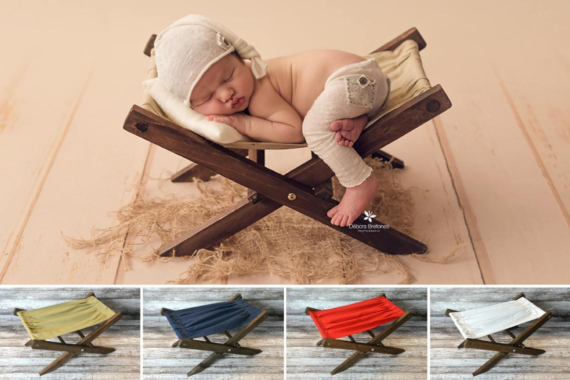 Newborn Photography Props Retro Folding Lounge Deck Chair Baby Photo Shoot Accessories Auxiliary Props Posing Baby Photo Props