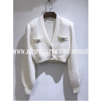 Autumn winter mohair knitted sweater women's cardigan mohair coat long sleeved single breasted sweater Short V neck knitted top