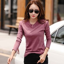 New 2019 Casual T Shirt Women Solid Color Tshirt Female Autumn Fashion Button Ladies Tops Tee Femme Long Sleeve O Neck T-Shirt