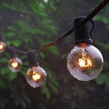 25Ft G40 لمبة مصابيح كروية مرتبة على شكل شرائط مع مصباح شفاف الفناء الخلفي الباحة أضواء خمر لمبات ديكور في الهواء الطلق جارلاند الزفاف