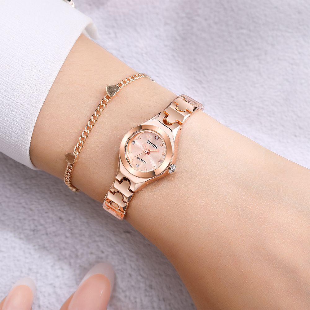 Qualities Small Fashion Women Watches Rose Gold Luxury Stainless Steel Ladies Wristwatches Diamond Female Bracelet Watch Gifts