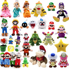 Super mario bros, Mario juguetes de peluche algodón pp Luigi mario Yoshi de donkey kong dragón Kuba de Wario colecciono muñecas regalos de los niños