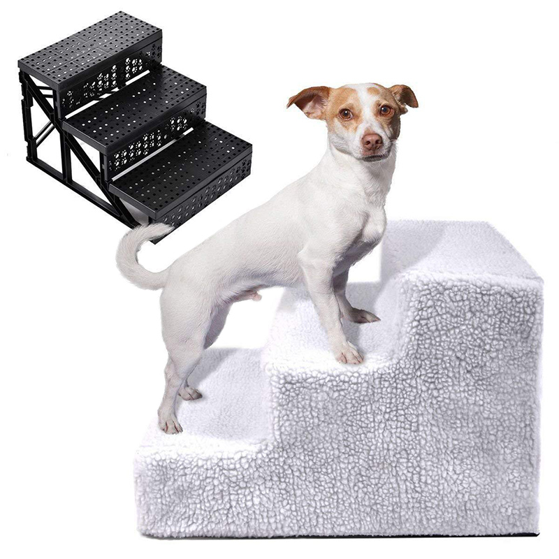 Pet 3-step Stairs For Dogs And Cats Portable Non-slip Treads Stairs Ramp Ladder With Removable Cover Pet Stair
