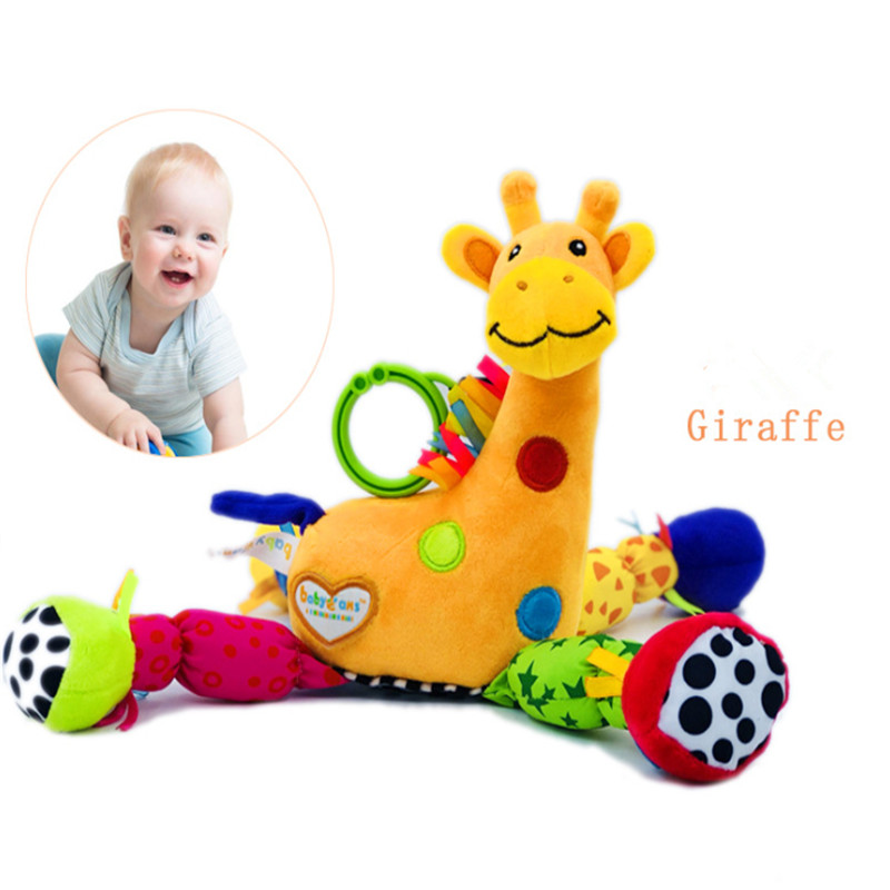 Mobile Plush Doll Toys Newborn 0-12 Months Baby Giraffe Musical Rattles Infant Stroller Crib Bed Hanging Appease Baby Toys