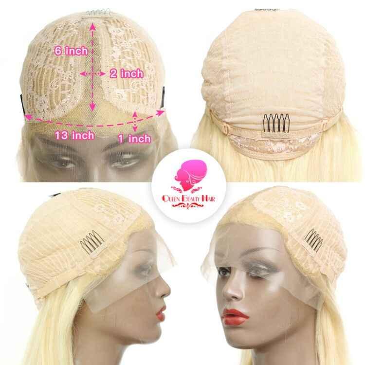 Reine 13x6 613 Blonde brésilienne droite cheveux humains Bob perruques 8 - 16 pouces Remy court Ombre Bob avant de lacet perruques pour les femmes noires