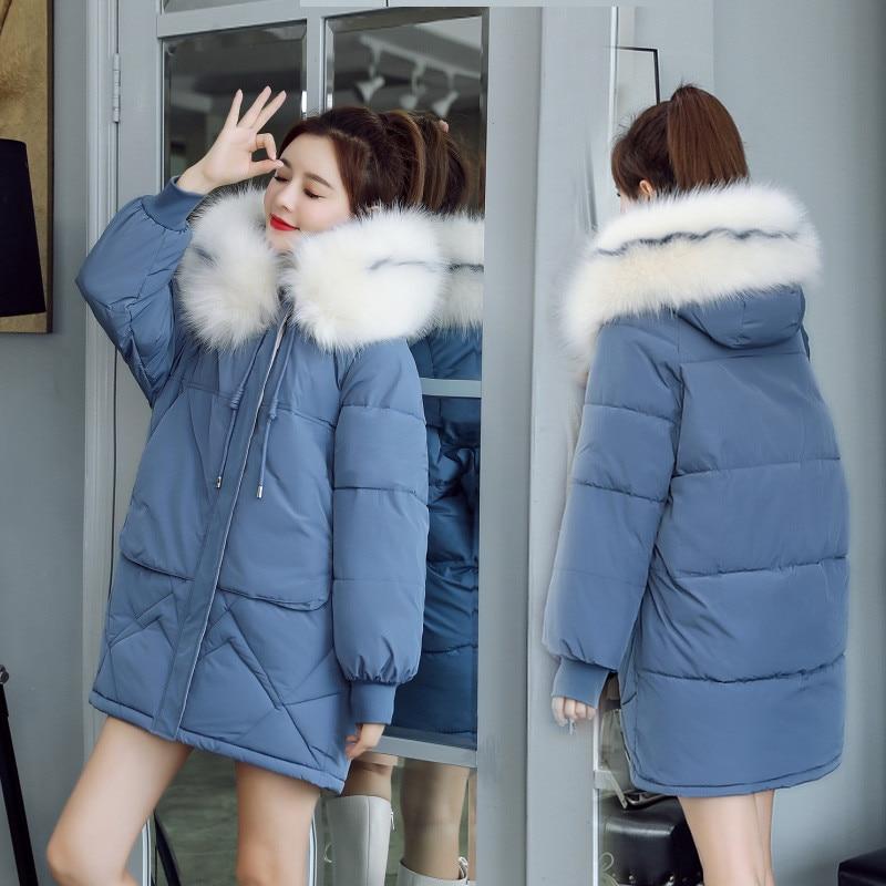 2019 New Autumn winter Medium length Hooded Women parka Solid zipper Long sleeve Thick Outwear Coat Jacket Fashion Cotton 4